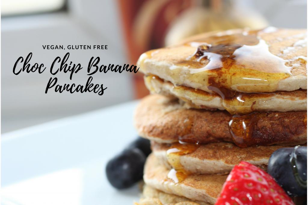 Choc Chip Banana Pancakes | Vegan, GF | #RecipeADayMay