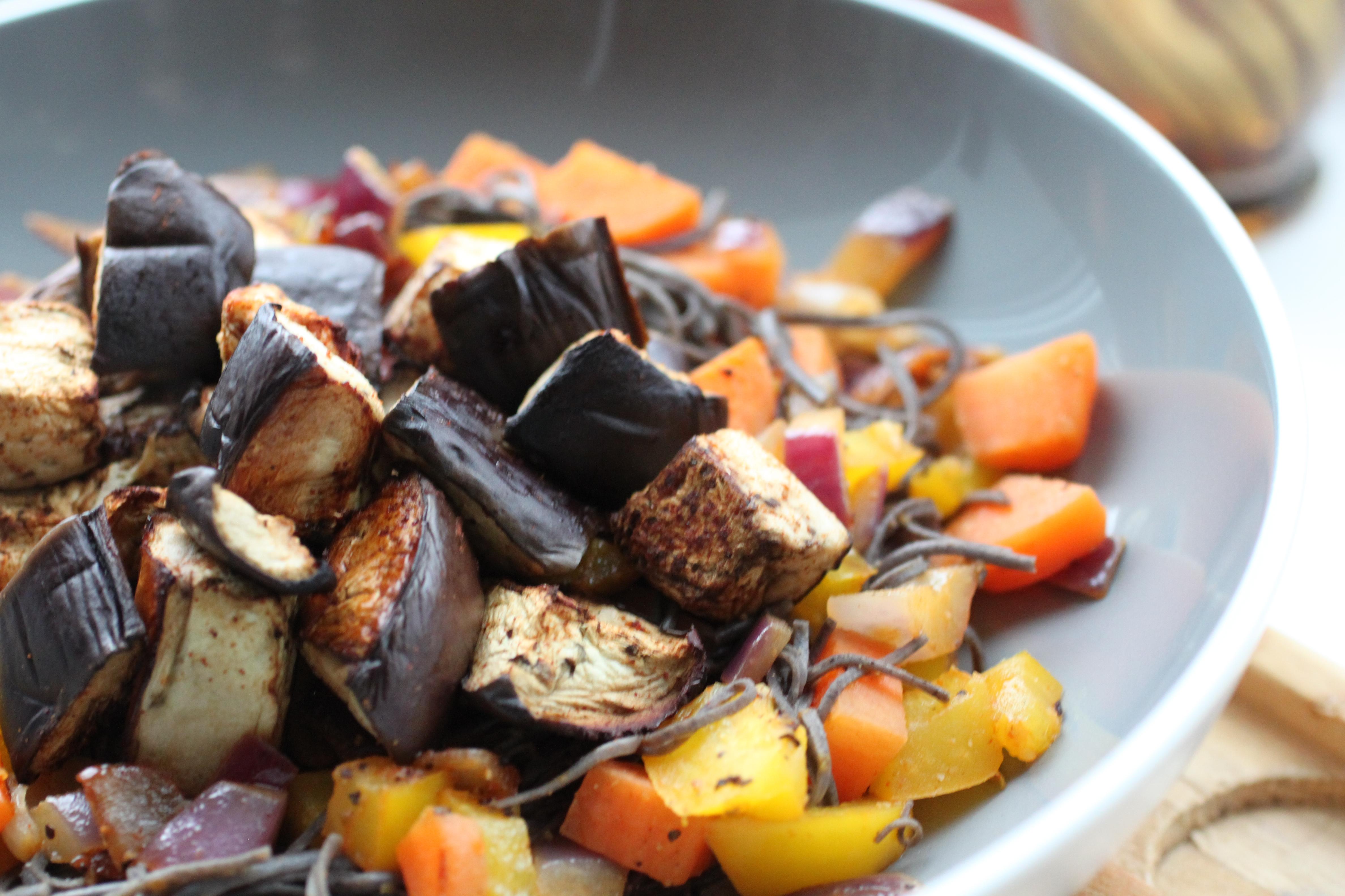 chilli and tamari baked aubergine